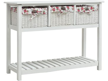 Table console avec 3 paniers Blanc Bois - vidaXL