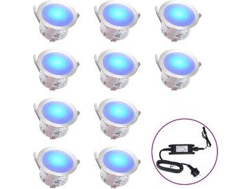 Lampes de sol à LED 10 pcs Bleu  - vidaXL