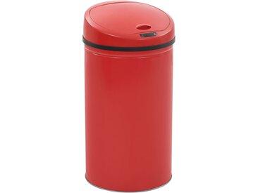 Poubelle à capteur 42 L Rouge - vidaXL