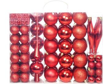 Ensemble de boules de Noël 113 pcs 6 cm Rouge - vidaXL