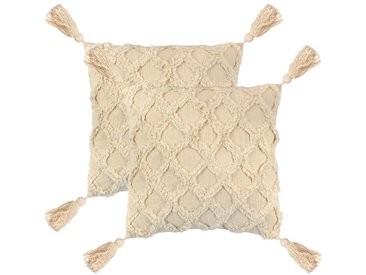 Coussin 2 pcs 60 x 60 cm Design de plaid Naturel - vidaXL