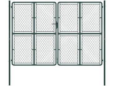 Portail de jardin Acier 300 x 200 cm Vert - vidaXL