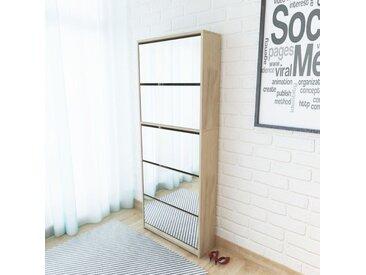 Meuble à chaussures 5 étagères et miroir 63x17x169,5 cm Chêne - vidaXL