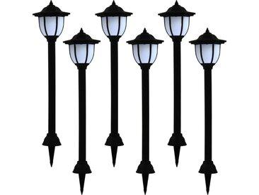 Lampes solaires à LED d'extérieur 6 pcs Noir - vidaXL