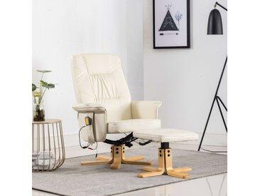 Fauteuil de massage avec repose-pieds Crème Similicuir - vidaXL