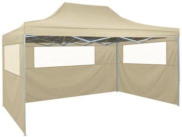 Tente de réception pliable avec 3 parois 3x4 m Acier Crème - vidaXL