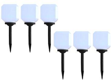 Lampes solaires cubiques à LED d'extérieur 6 pcs 20 cm Blanc - vidaXL