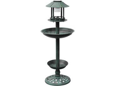 Fontaine bain d'oiseaux verte avec lampe solaire - vidaXL