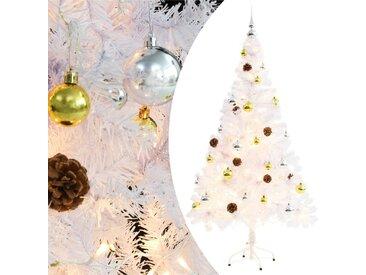 Arbre de Noël artificiel décoré boules LED de Noël 150cm Blanc - vidaXL