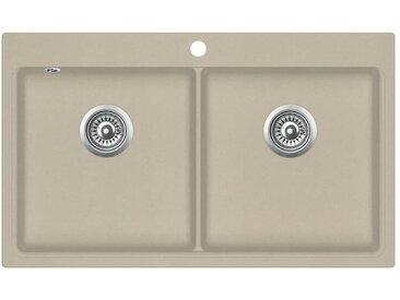 Évier de cuisine Granit Double lavabo Beige - vidaXL