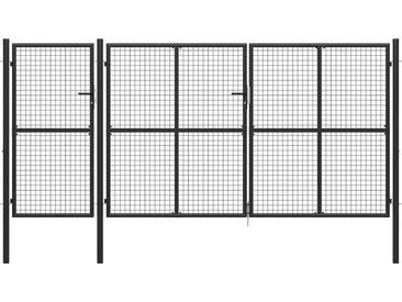 Portail de jardin Acier 400 x 150 cm Anthracite - vidaXL