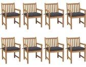 Chaises de jardin 8 pcs avec coussins anthracite Teck solide - vidaXL
