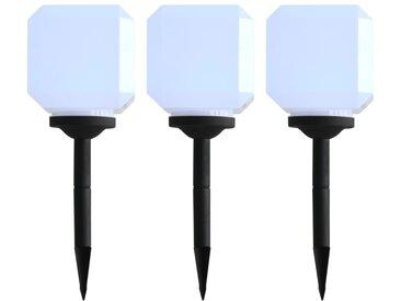Lampe solaire cubique à LED d'extérieur 3 pcs 20 cm Blanc - vidaXL