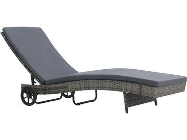 Chaise longue avec roues et coussin Résine tressée Anthracite - vidaXL