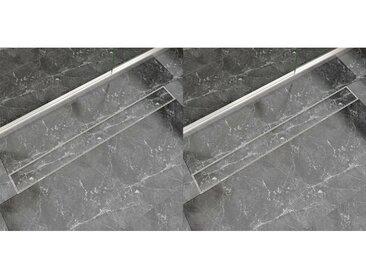 Drain de douche linéaire 2 pc 1030 x 140 mm Acier inoxydable - vidaXL