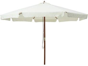 Parasol avec mât en bois 330 cm Blanc sable - vidaXL