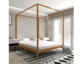 Cadre de lit à baldaquin Marron miel Pin massif 180x200 cm - vidaXL