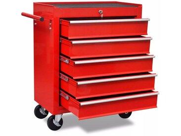 Chariot à outils d'atelier avec 5 tiroirs Rouge - vidaXL