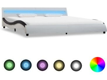 Cadre de lit avec LED Blanc et noir Similicuir 180x200 cm  - vidaXL