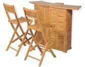 Mobilier de bistro 3pcs et chaises pliables Bois de teck solide - vidaXL