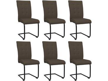 Chaises de salle à manger cantilever 6 pcs Marron Tissu - vidaXL