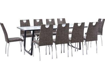 Ensemble de salle à manger 11 pcs Marron Similicuir - vidaXL