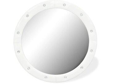 Miroir mural Cuir artificiel 80 cm Blanc brillant - vidaXL