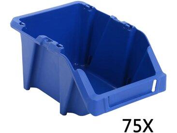 Bac de rangement empilable 75 pcs 153 x 244 x 123 mm Bleu - vidaXL