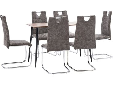 Ensemble de salle à manger 7 pcs Marron Similicuir - vidaXL