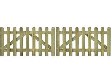 Portail de clôture à piquets 2 pcs 300x80 cm Bois imprégné FSC - vidaXL