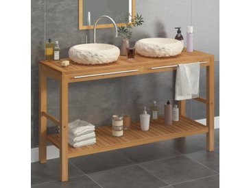 Armoire de toilette en teck solide avec lavabos en marbre Crème - vidaXL