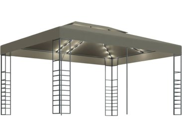 Tonnelle avec guirlande lumineuse 3x4 m Taupe 180 g/m² - vidaXL