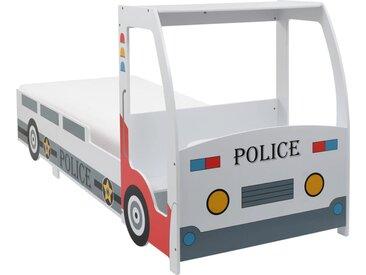 Lit voiture de police et matelas en mousse pour enfant 90x200cm - vidaXL