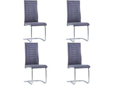 Chaises de salle à manger cantilever 4 pcs Gris Similicuir daim - vidaXL