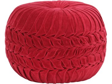 Pouf Velours de coton Design de sarrau 40 x 30 cm Rouge - vidaXL