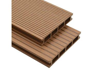 Panneaux de terrasse creux et accessoires WPC 16 m² 2,2 m Teck - vidaXL