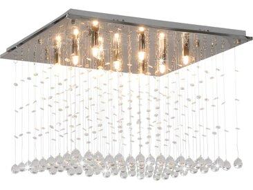 Plafonnier avec perles de cristal Argenté Cubique G9 - vidaXL