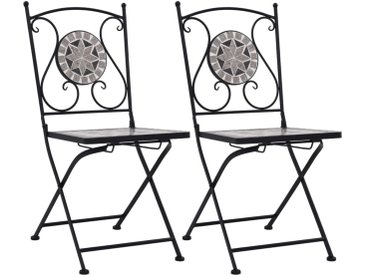 Chaises de bistrot mosaïque 2 pcs Gris - vidaXL