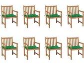 Chaises de jardin 8 pcs avec coussins vert Bois de teck massif - vidaXL