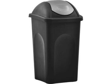 Poubelle avec couvercle pivotant 60 L Noir et argenté - vidaXL