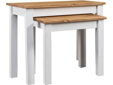 Tables gigognes 2pcs Blanc Bois pin massif Assortiment Panama - vidaXL