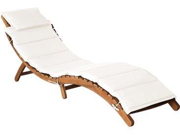 Chaise longue avec coussin Bois d'acacia solide Crème - vidaXL