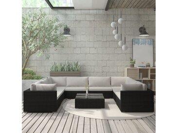 Salon de jardin 9 pcs avec coussins Résine tressée Noir - vidaXL