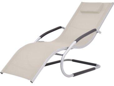 Chaise longue avec oreiller Aluminium et textilène Crème - vidaXL