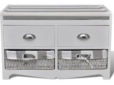 Banc de rangement avec 2 tiroirs et 2 paniers, coussin inclus - vidaXL