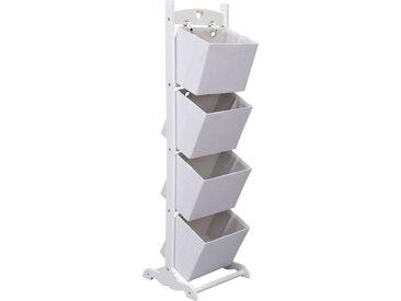 Support à panier 4 niveaux Blanc 35x35x125 cm Bois  - vidaXL