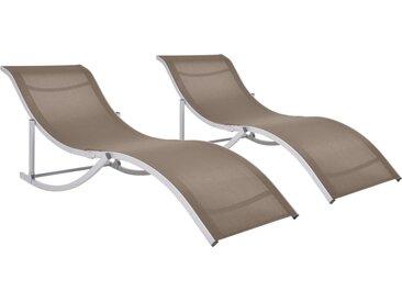 Chaises longues pliables 2 pcs Taupe Textilène - vidaXL
