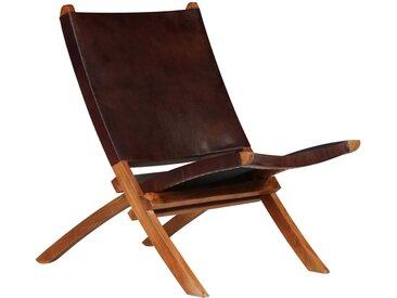 Chaise de relaxation pliable Marron Cuir véritable  - vidaXL