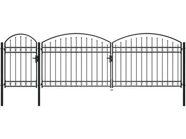 Portail de clôture de jardin avec dessus arqué Acier 2x5 m Noir - vidaXL