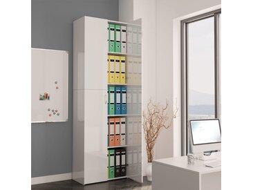 Armoire de bureau Blanc brillant 60x32x190 cm Aggloméré - vidaXL